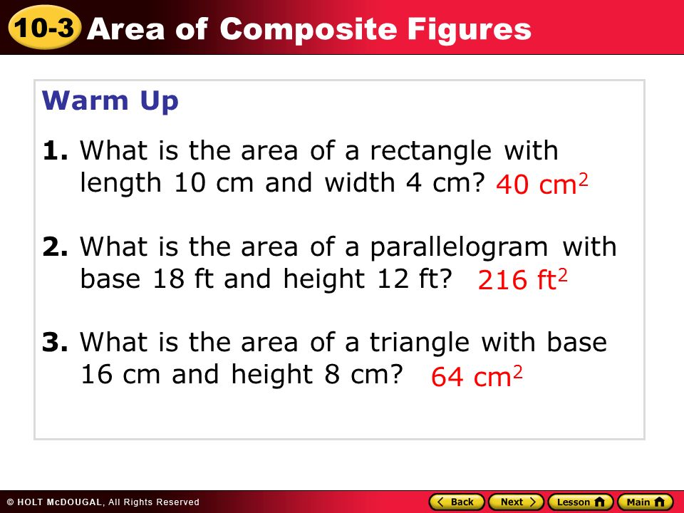 10-3 Area of Composite Figures Warm Up 1.