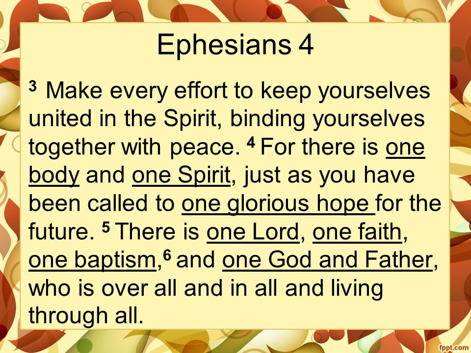 Ephesians 4 3 Make every effort to keep yourselves united in the Spirit, binding yourselves together with peace.