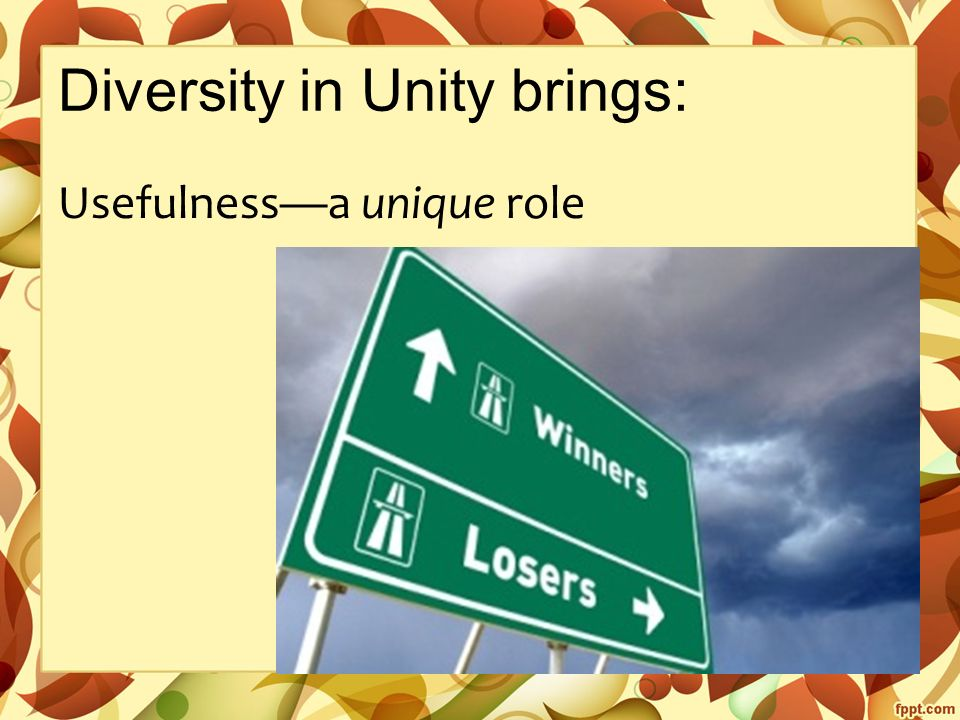 Diversity in Unity brings: Usefulness—a unique role