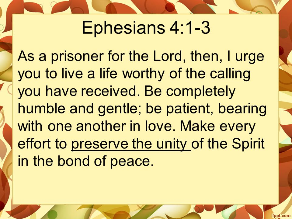 Ephesians 4:1-3 As a prisoner for the Lord, then, I urge you to live a life worthy of the calling you have received.