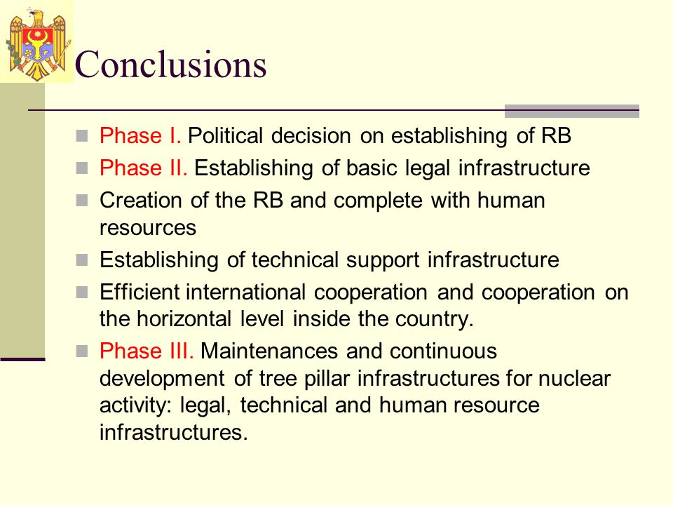 Conclusions Phase I. Political decision on establishing of RB Phase II.