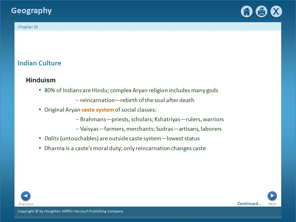 Copyright © by Houghton Mifflin Harcourt Publishing Company Next Previous Geography Chapter 25 1 Indian Culture Hinduism 80% of Indians are Hindu; complex Aryan religion includes many gods − reincarnation—rebirth of the soul after death Original Aryan caste system of social classes: − Brahmans—priests, scholars; Kshatriyas—rulers, warriors − Vaisyas—farmers, merchants; Sudras—artisans, laborers Dalits (untouchables) are outside caste system—lowest status Dharma is a caste's moral duty; only reincarnation changes caste Continued…