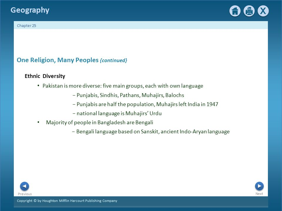 Copyright © by Houghton Mifflin Harcourt Publishing Company Next Previous Geography Chapter 25 One Religion, Many Peoples {continued} Ethnic Diversity Pakistan is more diverse: five main groups, each with own language − Punjabis, Sindhis, Pathans, Muhajirs, Balochs − Punjabis are half the population, Muhajirs left India in 1947 − national language is Muhajirs' Urdu Majority of people in Bangladesh are Bengali − Bengali language based on Sanskit, ancient Indo-Aryan language