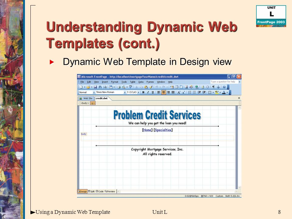 Insert a popup menu to many pages using dynamic web template in.