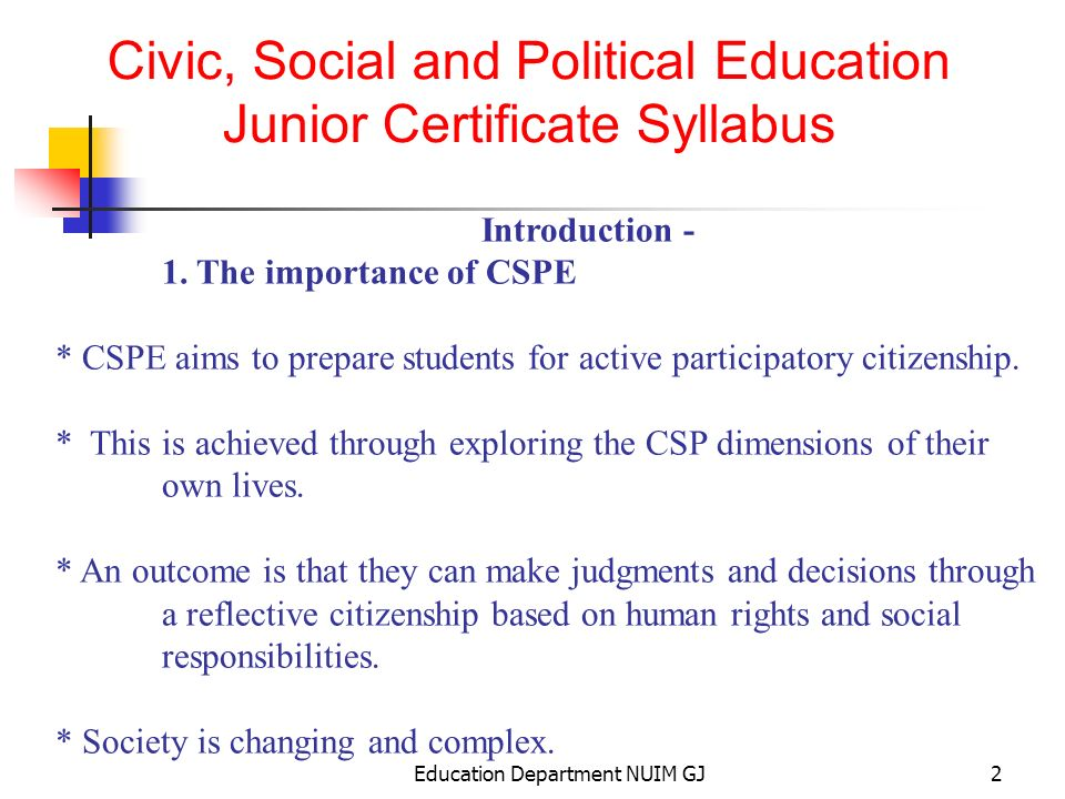Education Department NUIM GJ1 Civic, Social and Political