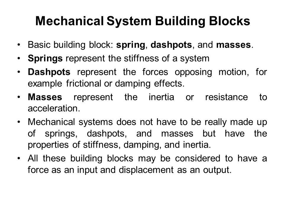 System Models Mathematical Models Mechanical System Building