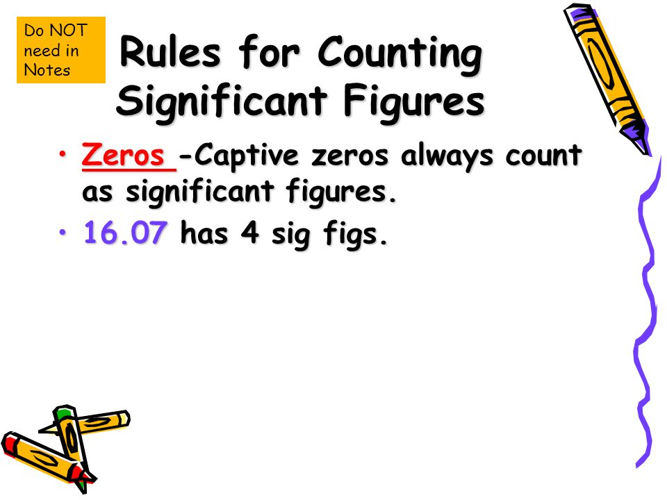 Rules for Counting Significant Figures Zeros -Captive zeros always count as significant figures.Zeros -Captive zeros always count as significant figures.