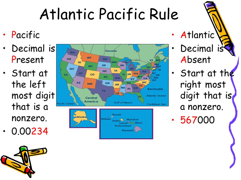 Atlantic Pacific Rule Pacific Decimal is Present Start at the left most digit that is a nonzero.