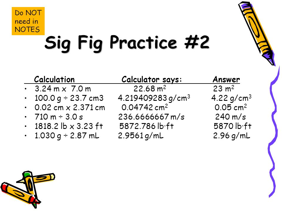 Sig Fig Practice #2 Calculation Calculator says: Answer 3.24 m x 7.0 m m 2 23 m g ÷ 23.7 cm g/cm g/cm cm x cm cm cm m ÷ 3.0 s m/s 240 m/s lb x 3.23 ft lb·ft 5870 lb·ft g ÷ 2.87 mL g/mL 2.96 g/mL Do NOT need in NOTES