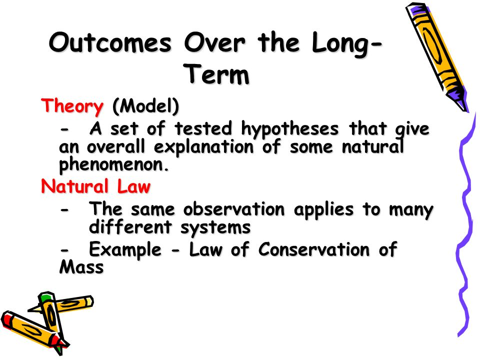 Outcomes Over the Long- Term Theory (Model) - A set of tested hypotheses that give an overall explanation of some natural phenomenon.