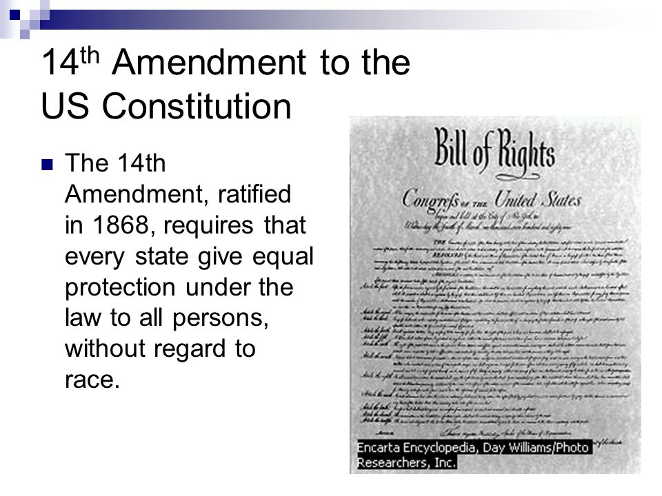 Following its ratification by the necessary threequarters of US states the 14th Amendment guaranteeing to African Americans citizenship and all its