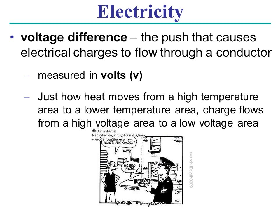 Electricity voltage difference – the push that causes electrical charges to flow through a conductor – measured in volts (v) – Just how heat moves from a high temperature area to a lower temperature area, charge flows from a high voltage area to a low voltage area