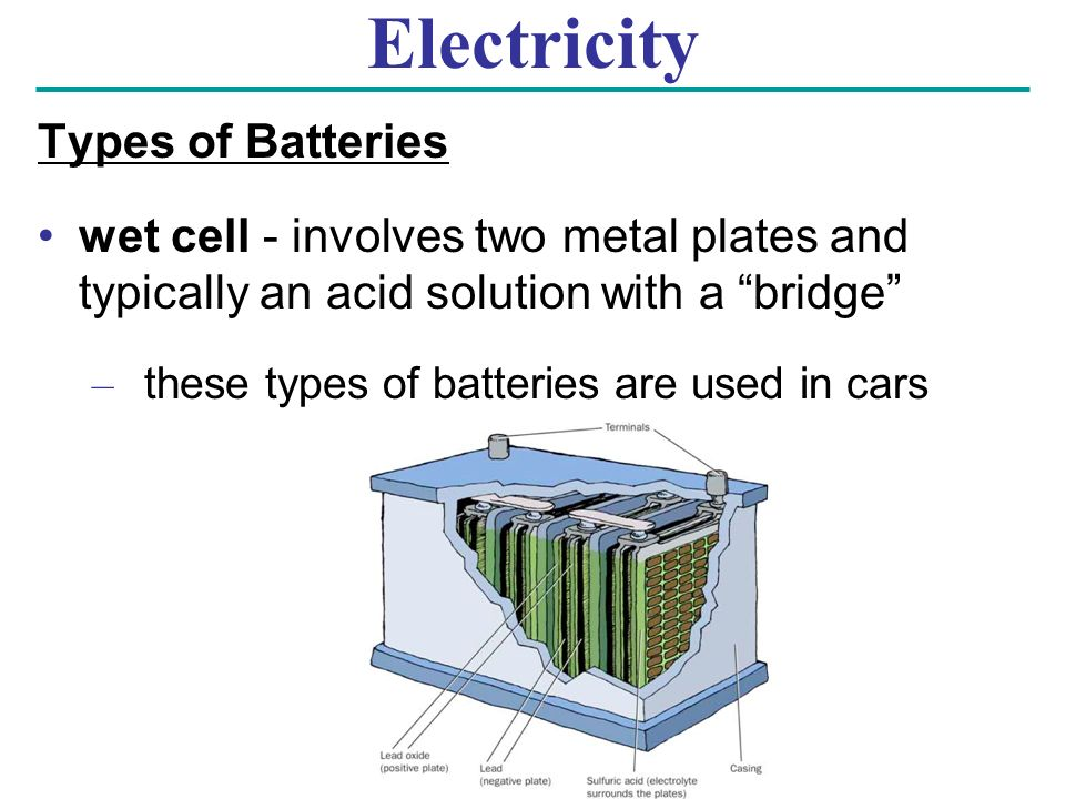 Electricity Types of Batteries wet cell - involves two metal plates and typically an acid solution with a bridge – these types of batteries are used in cars