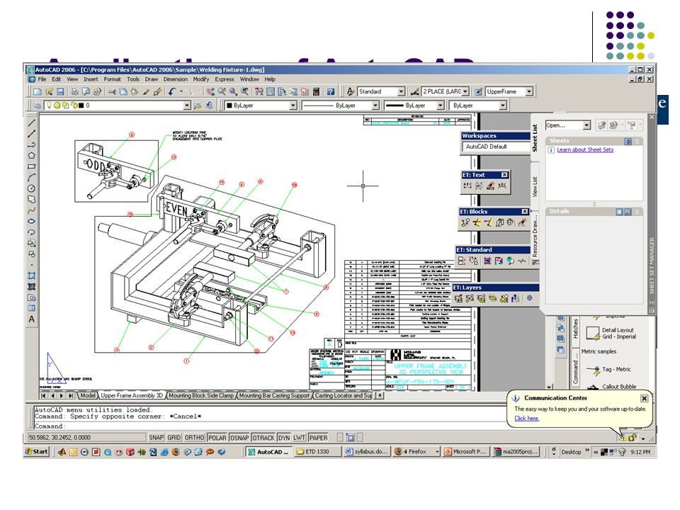 ETD 1330 CAD Introduction to AutoCAD Features Professor: Dr