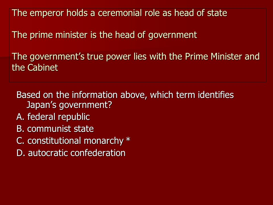Based on the information above, which term identifies Japan's government.