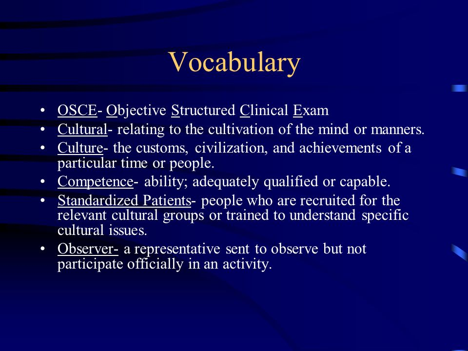 Objective Structured Clinical Exam By Roslyn Joinvil