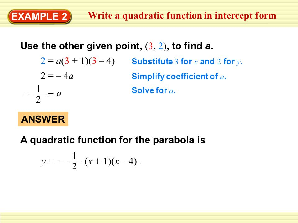 Example 1 Write A Quadratic Function In Vertex Form Write A