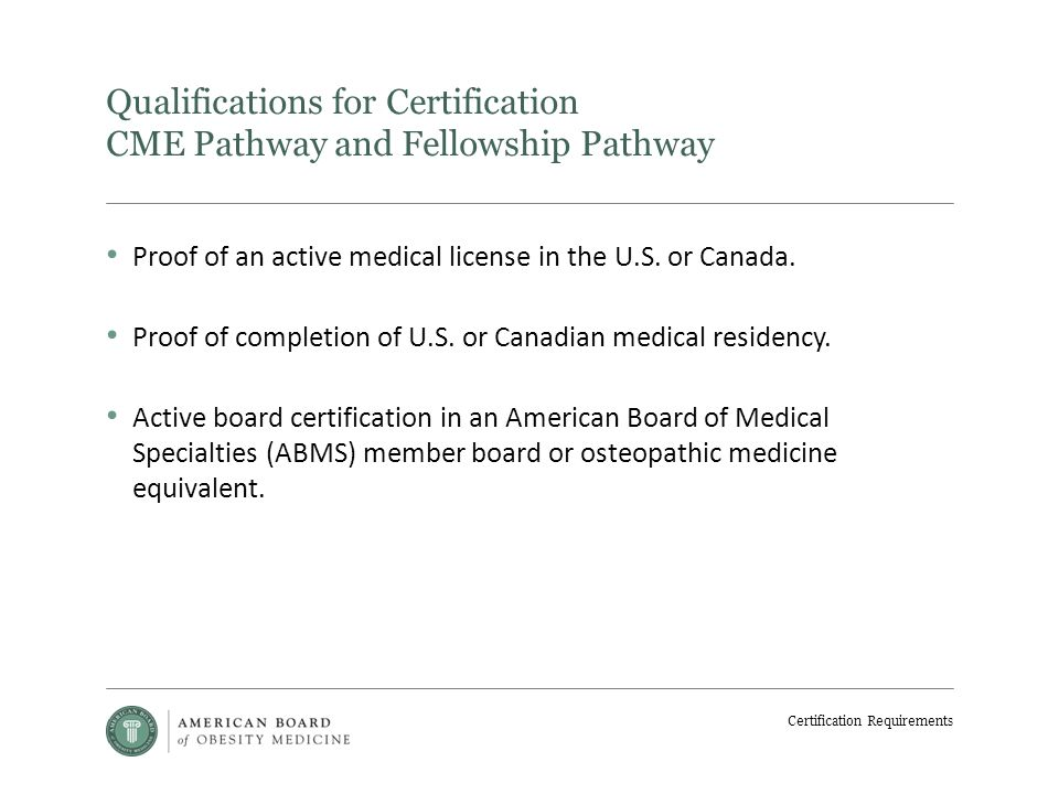 Certification Requirements Obesity Medicine Physician An Obesity