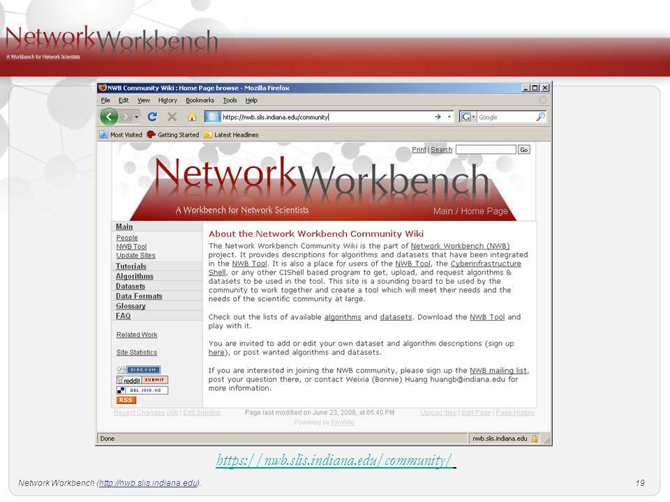 Network Workbench ( 1 Katy Börner and the NWB IUB Victor H  Yngve