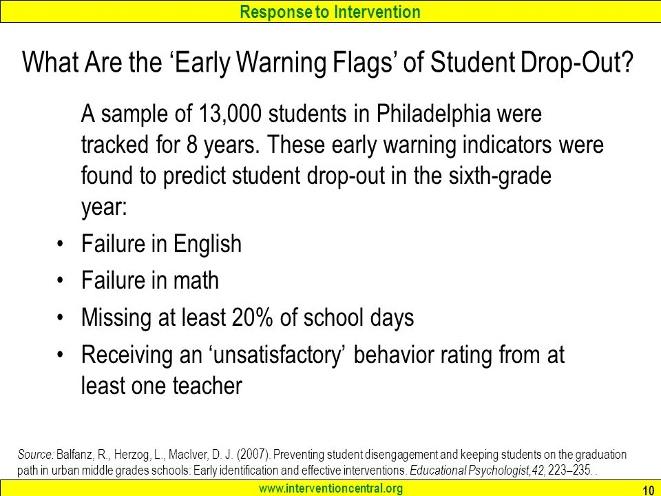 Response to Intervention www.interventioncentral.org 10 What Are the 'Early Warning Flags' of Student Drop-Out.
