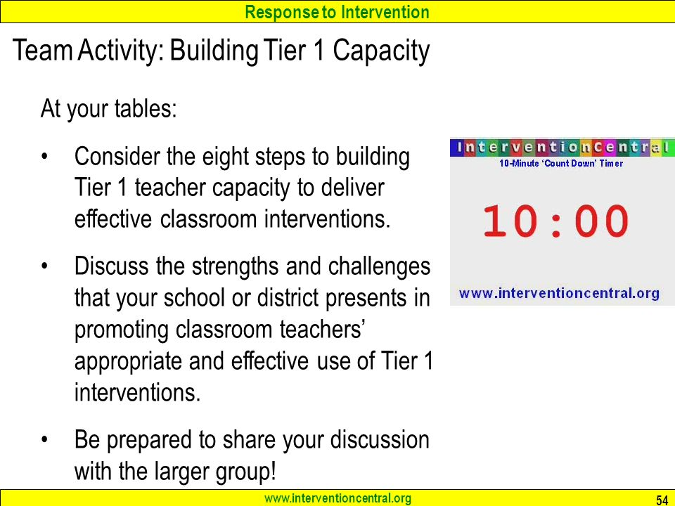 Response to Intervention www.interventioncentral.org 54 Team Activity: Building Tier 1 Capacity At your tables: Consider the eight steps to building Tier 1 teacher capacity to deliver effective classroom interventions.