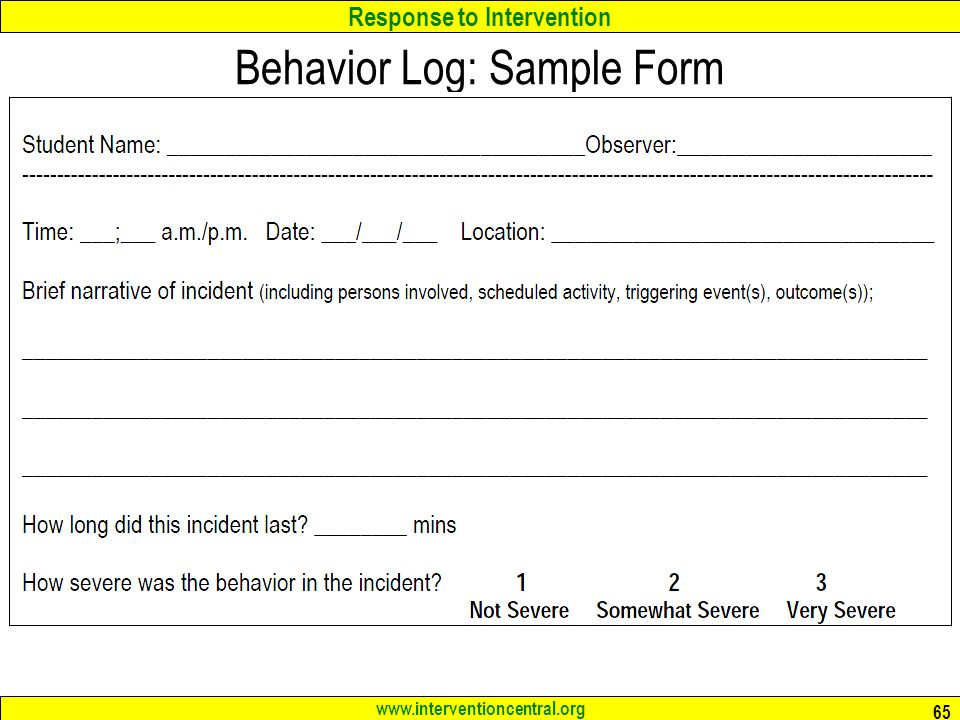 Response to Intervention www.interventioncentral.org Behavior Log: Sample Form 65
