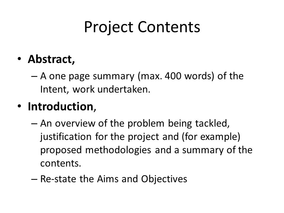 2 Project Contents Abstract A One Page Summary Max