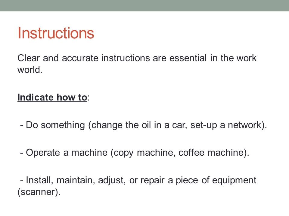 Technical Writing October 27 Instructions And Procedures