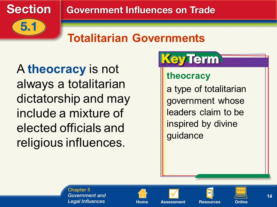 14 Totalitarian Governments A theocracy is not always a totalitarian dictatorship and may include a mixture of elected officials and religious influences.