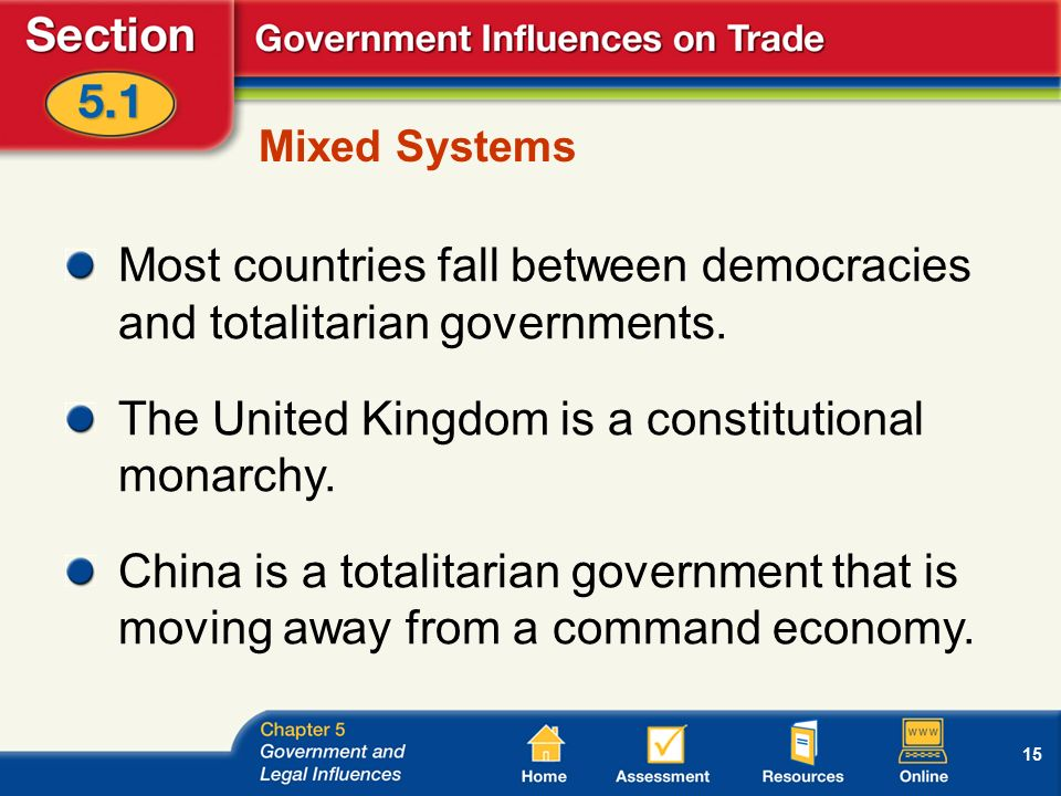 15 Mixed Systems Most countries fall between democracies and totalitarian governments.