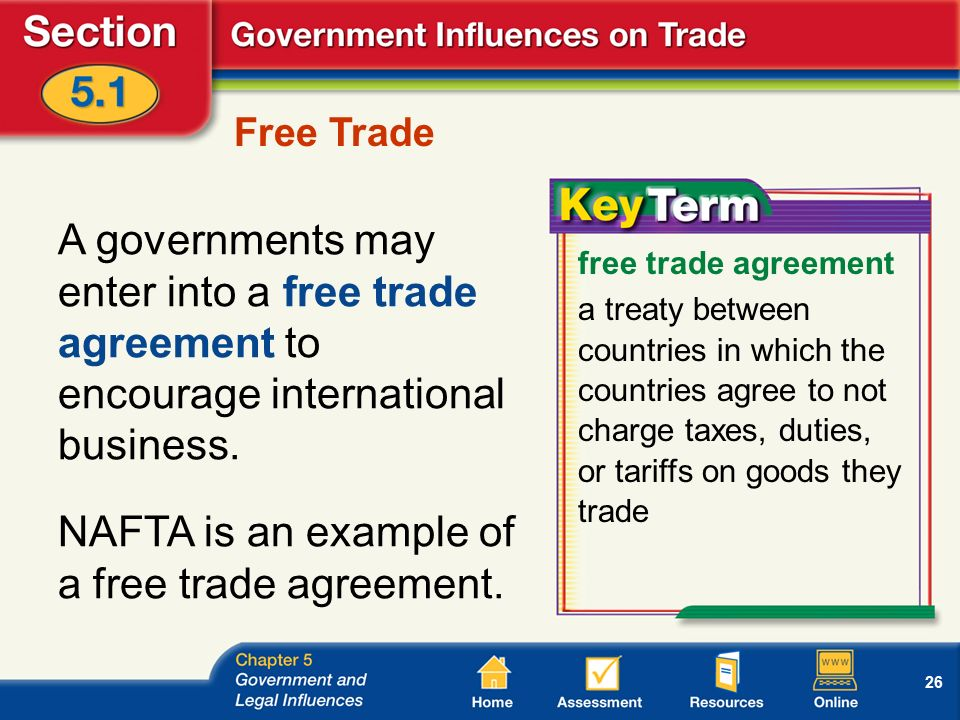 26 Free Trade A governments may enter into a free trade agreement to encourage international business.