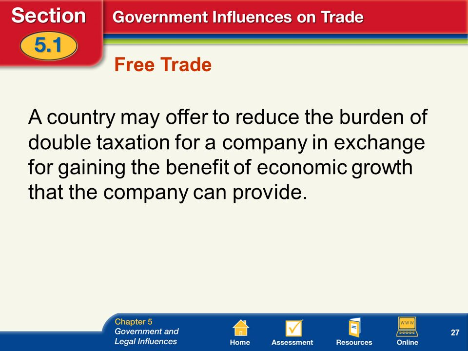 27 Free Trade A country may offer to reduce the burden of double taxation for a company in exchange for gaining the benefit of economic growth that the company can provide.
