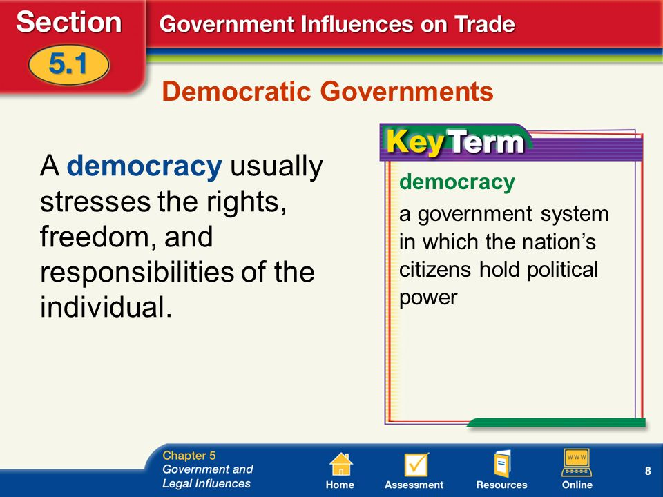 8 Democratic Governments A democracy usually stresses the rights, freedom, and responsibilities of the individual.