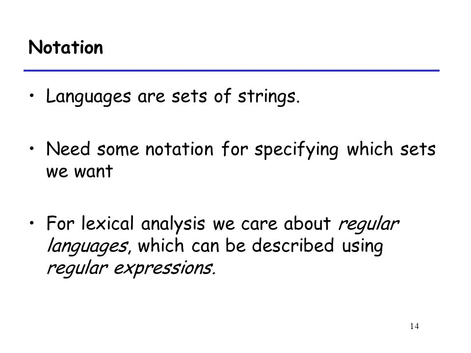14 Notation Languages are sets of strings.