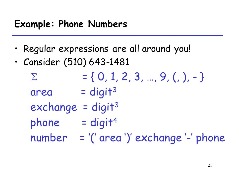 23 Example: Phone Numbers Regular expressions are all around you.