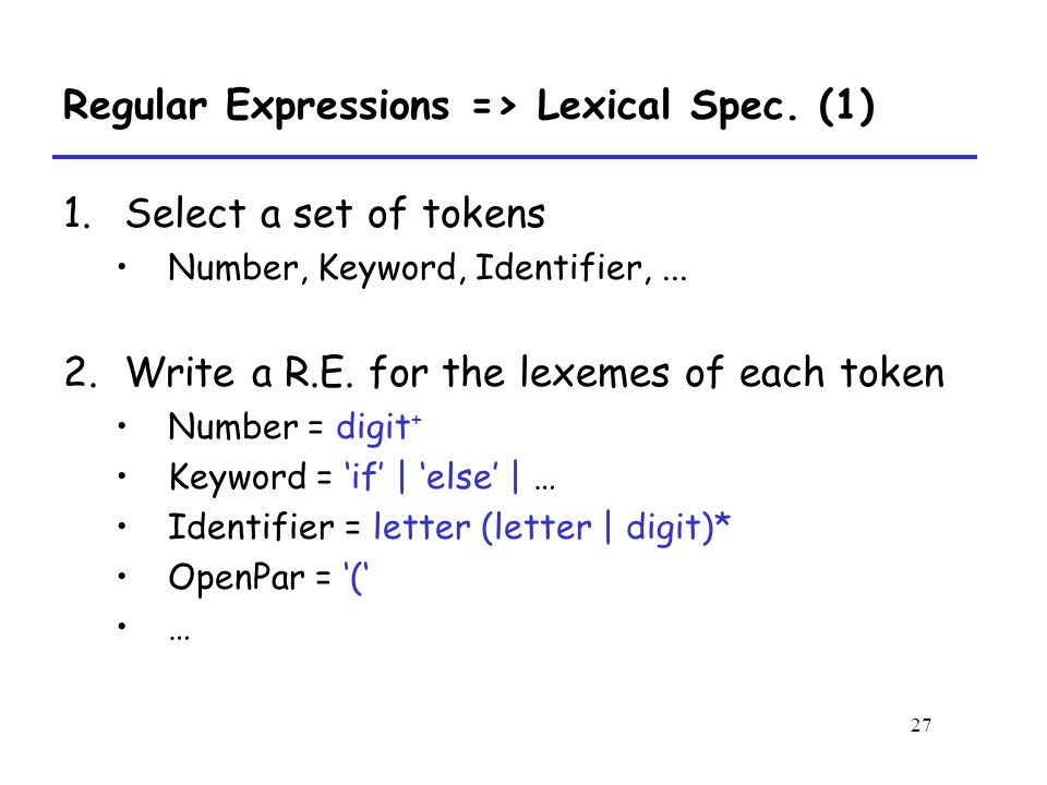 27 Regular Expressions => Lexical Spec.