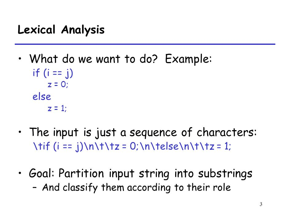 3 Lexical Analysis What do we want to do.