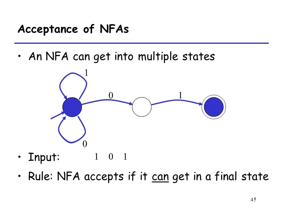 45 Acceptance of NFAs An NFA can get into multiple states Input: Rule: NFA accepts if it can get in a final state