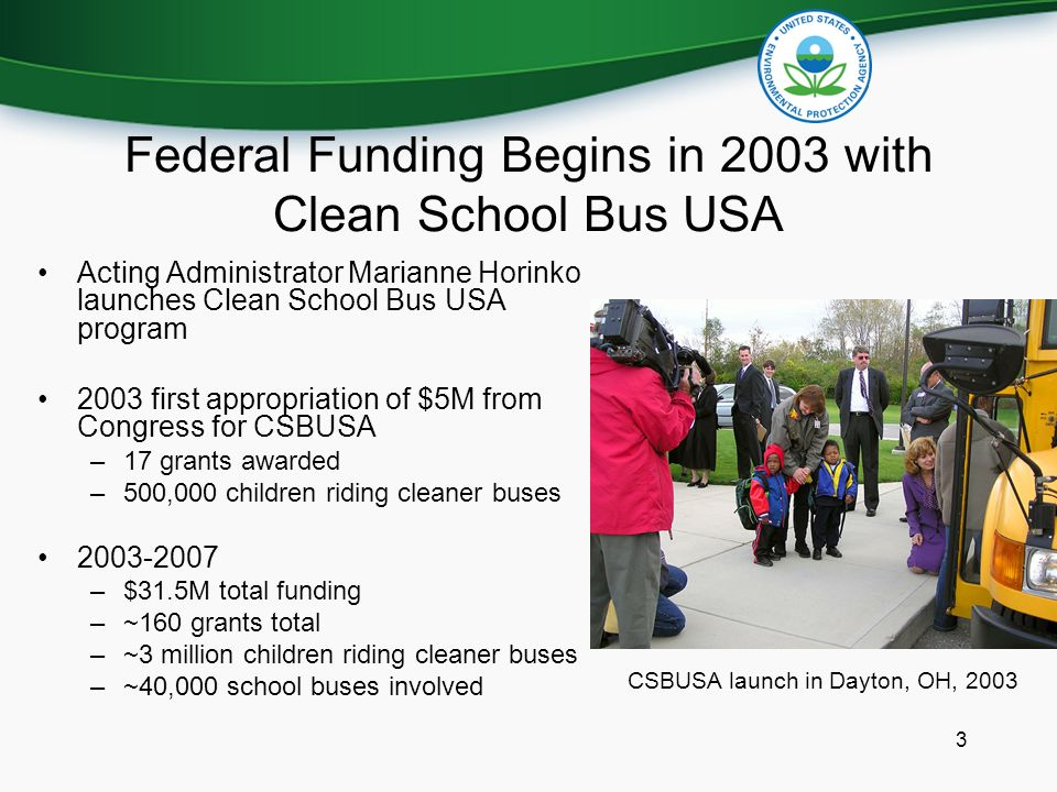3 Federal Funding Begins in 2003 with Clean School Bus USA Acting Administrator Marianne Horinko launches Clean School Bus USA program 2003 first appropriation of $5M from Congress for CSBUSA –17 grants awarded –500,000 children riding cleaner buses –$31.5M total funding –~160 grants total –~3 million children riding cleaner buses –~40,000 school buses involved CSBUSA launch in Dayton, OH, 2003
