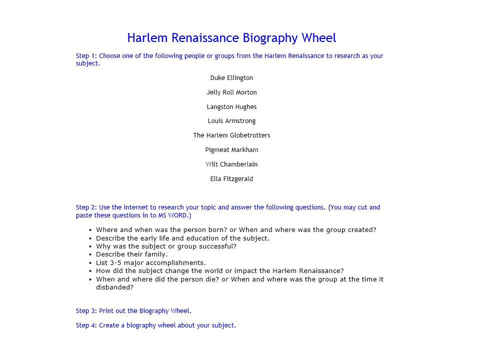 harlem renaissance research paper topics