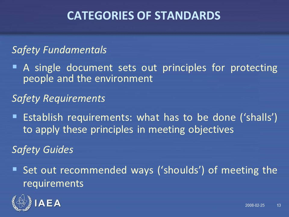 IAEA CATEGORIES OF STANDARDS Safety Fundamentals  A single document sets out principles for protecting people and the environment Safety Requirements  Establish requirements: what has to be done ('shalls') to apply these principles in meeting objectives Safety Guides  Set out recommended ways ('shoulds') of meeting the requirements