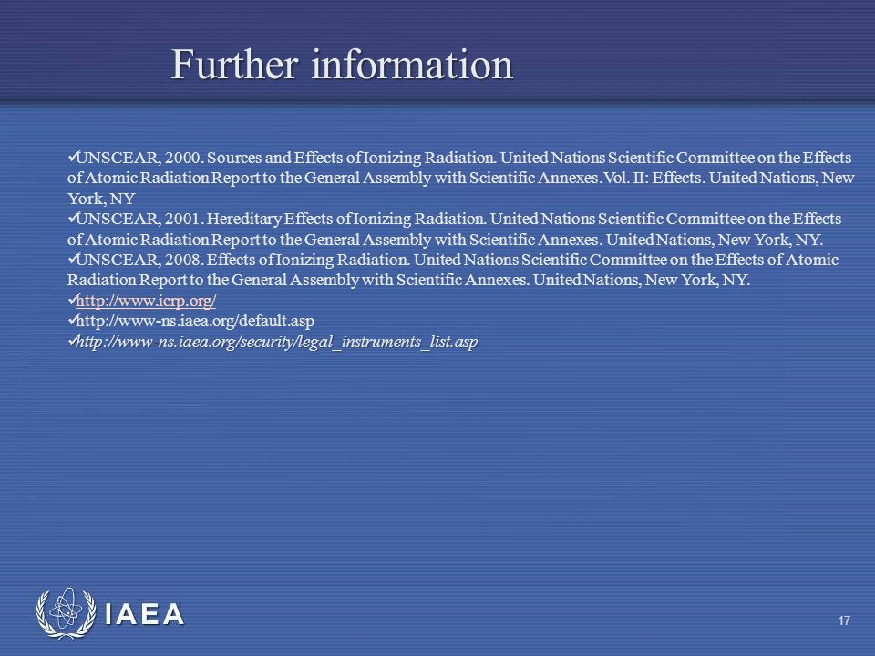 IAEA UNSCEAR, Sources and Effects of Ionizing Radiation.