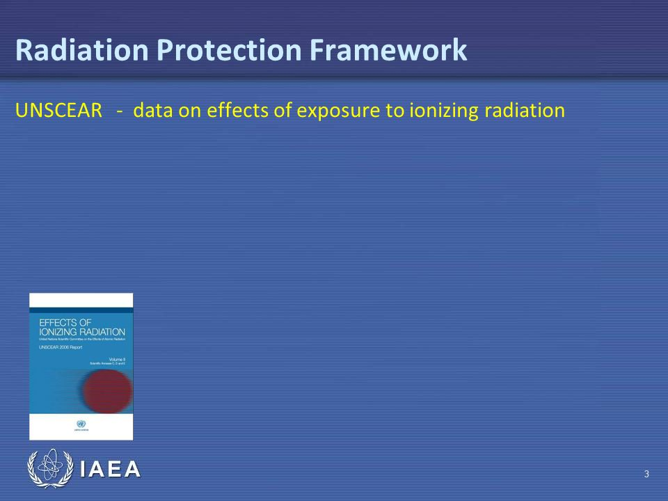 IAEA Radiation Protection Framework UNSCEAR - data on effects of exposure to ionizing radiation 3