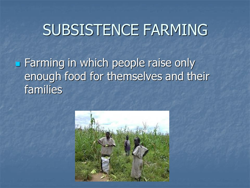 SUBSISTENCE FARMING Farming in which people raise only enough food for themselves and their families Farming in which people raise only enough food for themselves and their families