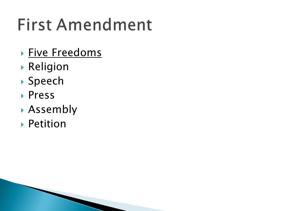 Five Freedoms  Religion  Speech  Press  Assembly  Petition