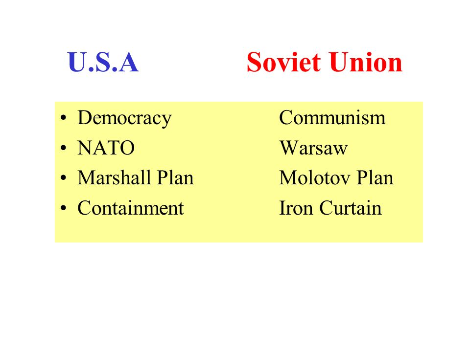 U.S.A Soviet Union Democracy Communism NATO Warsaw Marshall Plan Molotov Plan Containment Iron Curtain
