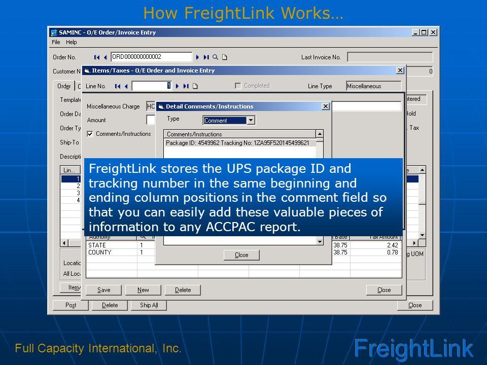 Full Capacity International, Inc  presents Linking UPS Online