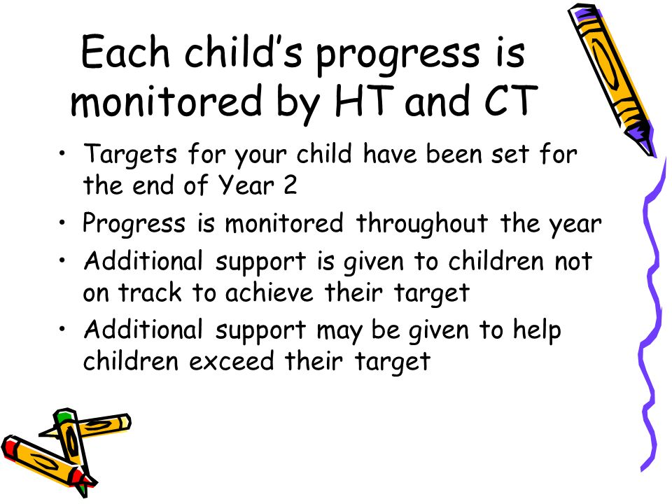 Each child's progress is monitored by HT and CT Targets for your child have been set for the end of Year 2 Progress is monitored throughout the year Additional support is given to children not on track to achieve their target Additional support may be given to help children exceed their target
