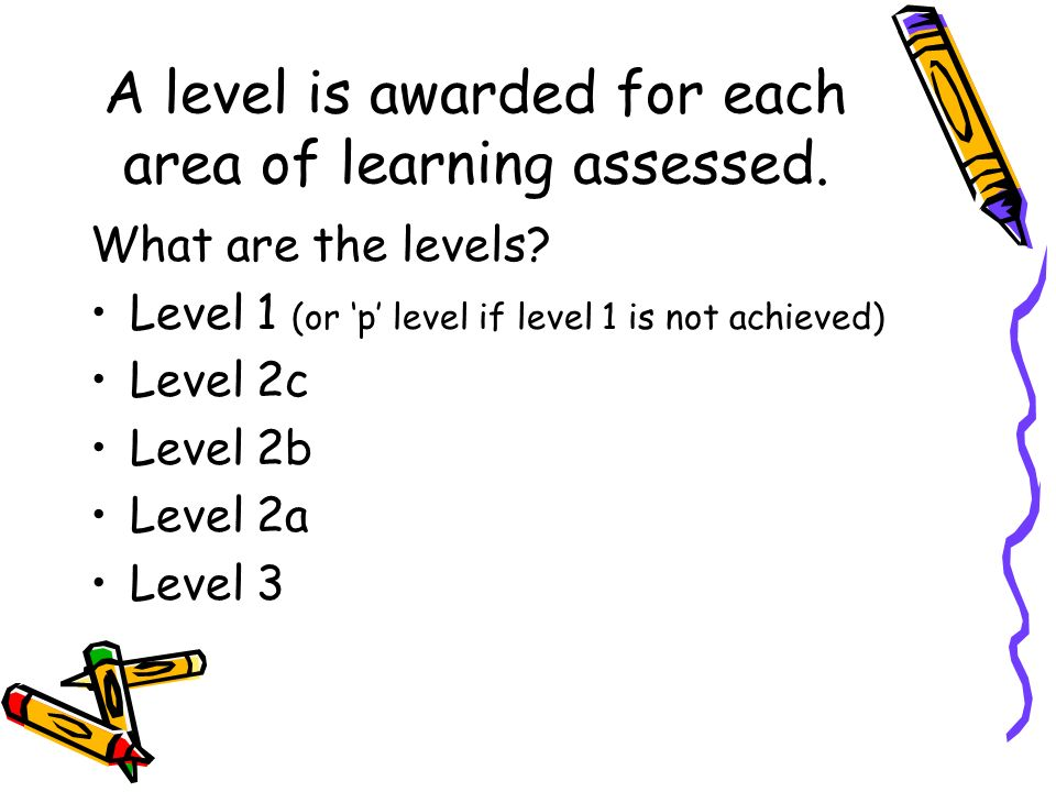 A level is awarded for each area of learning assessed.