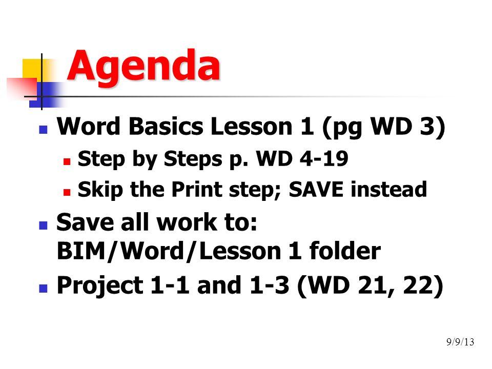 Agenda Word Basics Lesson 1 Pg WD 3 Step By Steps P